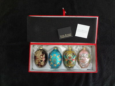 2009 JOAN RIVERS Classics Collection RUSSIAN INSPIRED 4 EGG ORNAMENTS Satin Box