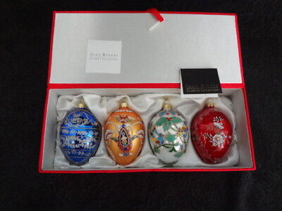 2010 JOAN RIVERS Classics Collection RUSSIAN INSPIRED 4 EGG ORNAMENTS Satin Box