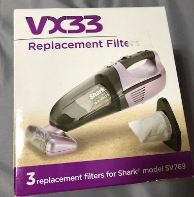 3 Shark VX33 Replacement Vacuum Filters for Shark SV769 Cordless Hand Vacuums