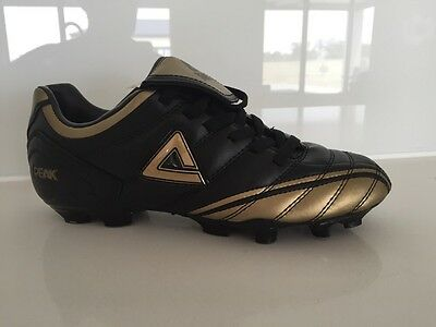 BRAND NEW IN BOX PEAK MENS FOOTBALL BOOTS- Black And Gold - Size 6