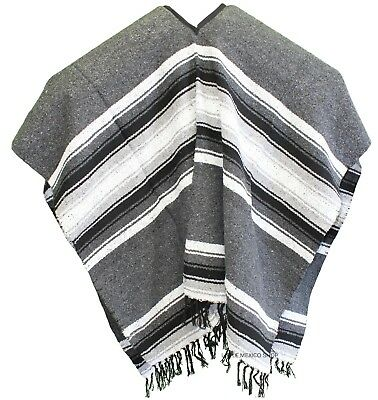 EXTRA WIDE Mexican PONCHO - Gray - ONE SIZE FITS ALL Blanket Gaban BIG AND TALL