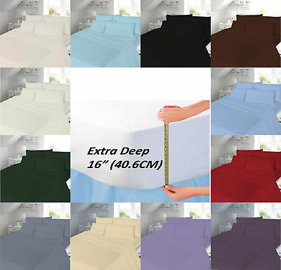 """EXTRA DEEP 16"""" (40cm) Percale T180 (Thread Count) Hotel Quality Fitted Bed Sheet"""