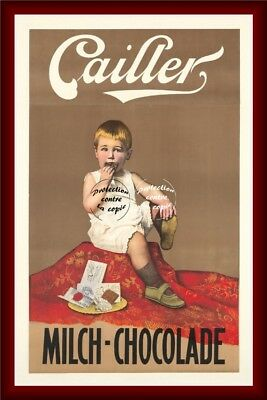 """MILCH CHOCOLADE CAILLER 7-VINTAGE POSTER REPRINT 30x42cm/11.8x16.5"""" (BR*)"""