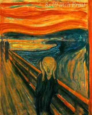 The Scream by Edvard Munch - Man Hold Head Red Sky Water 8x10 Print 2218