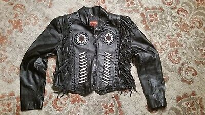 Hot Leathers Black Leather Fringe Native American Motorcycle Jacket Women's Med