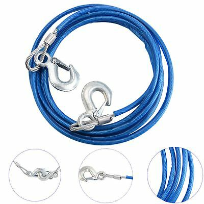 12 Foot Heavy Duty Steel Tow Rope (5 Tonne) With Hooks and Sleeve Premium 4M