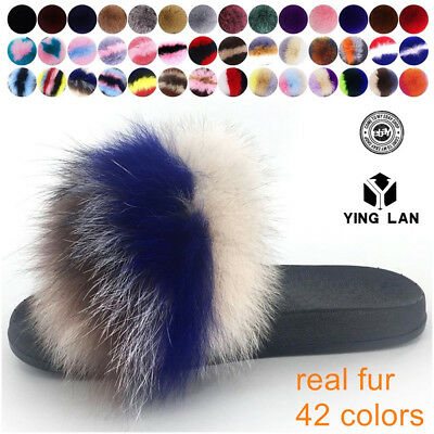 Womens Ladies Fur Slides Fuzzy Furry Slippers Comfort Sliders Sandals Shoes FW