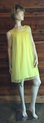 Vintage Chic Lingerie Yellow Chiffon Size Small Babydoll Nightgown 9923