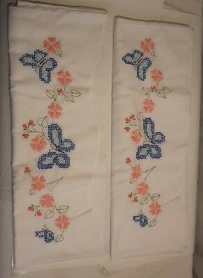 Vintage Hand Embroidered Pillowcases Lot of 2 Blue Butterflies Coral Flowers