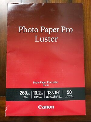 """NEW Canon Photo Paper Pro Luster, LU-101, 13"""" x 19"""" (50 sheets)"""