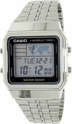 Casio Men's Classic A500WA-1 Silver Stainless-Steel Plated Japanese Quartz Dr...