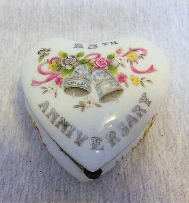 Vintage 25th Anniversary Lefton Porcelain Trinket Box Heart Made in Japan