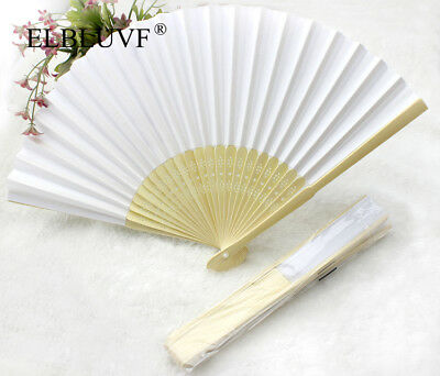 20 x White Summer Ladies Hollow Outdoor Folding Colorful Paper Hand Fans Wedding