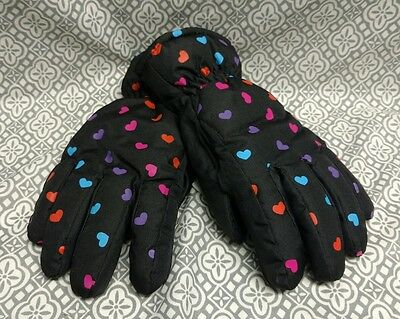 London Fog Girls Warm Black w/ hearts Ski Winter Gloves Thinsulate Insulated