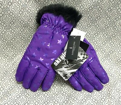 London Fog Girls Warm Purple w/ stars Ski Winter Gloves Thinsulate Insulated
