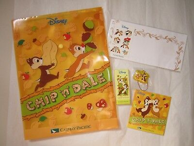 NEW Cathay Pacific Airlines Kids Disney Chip and Dale A4 Folder Stationery Set