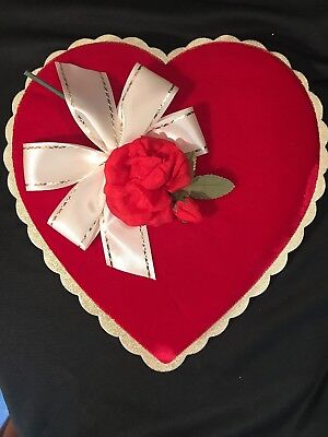 Vntg Red Heart Shaped Valentine Candy Box White Gold Ribbon Velvet Top w/ Rose
