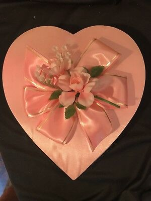 Vntg Pink Heart Shaped Valentine Candy Box Pink & Gold Ribbon Satin w/ Pink Rose
