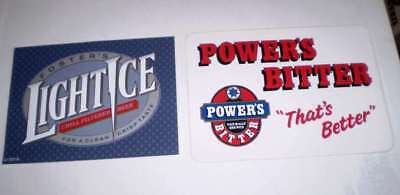 TWO  old beer advertising stickers   Powers Bitter Fosters Light I (16 cms wide)