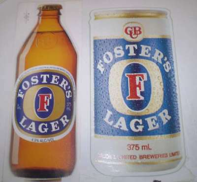 TWO  old beer advertising stickers   Fosters can & Bottle (26 cms high)