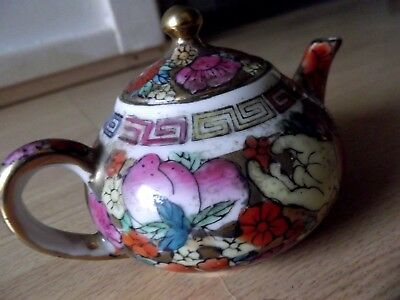 Gorgeous colourful Collectable Ceramic Mini Teapot Floral and gold-look Like NEW