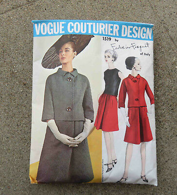 Original 1960s Vogue Couturier Pattern for Suit & Blouse Forquet 36 Unused Label