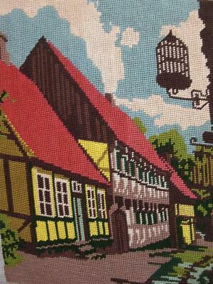 """vintage cotton needlepoint tapestry cottage  """" In The year 1625""""  15.6""""x11.7"""""""