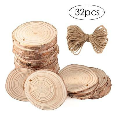 Natural Wood Slices 32pcs  2.8''-3.1''Round Rustic Wood with Hole for DIY Crafts