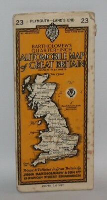 Bartholomew's Quarter-inch AA Automobile Cloth Map - Plymouth / Lands End - 1947