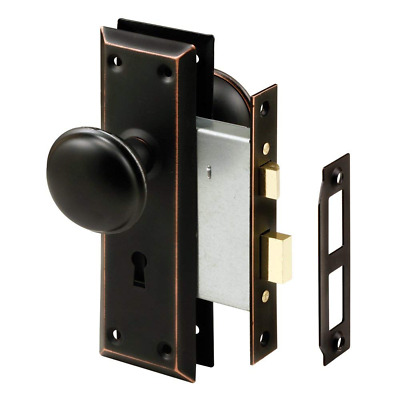 Prime-Line E 2495 Mortise Keyed Lock Set with Classic Bronze Knob  Perfect fo...