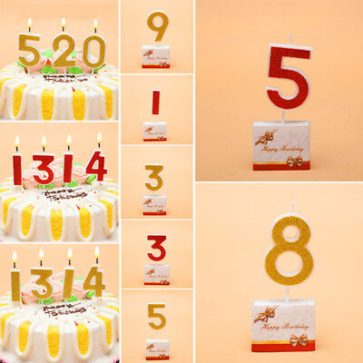 Number  0-9 Candles Gold Glitter Birthday Cake Topper Decoration Party Supplies