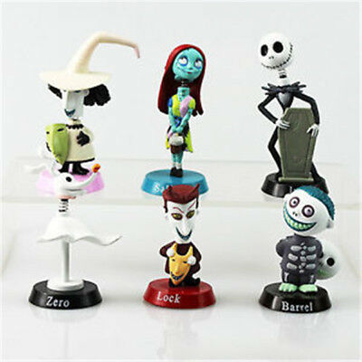 6pcs Nightmare Before Christmas Jack Skellington Action Figure Car Topper Toys