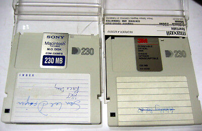 2x MO Disk for pc and mac 230MB vintage storage Sony and 3M brands