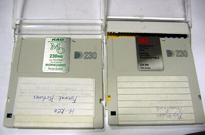 2x MO Disk for pc and mac 230MB vintage storage KAO and 3M brands