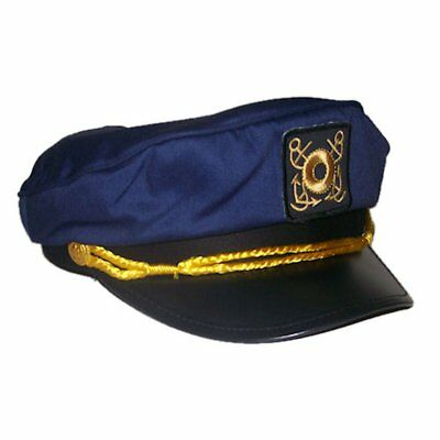 Deluxe Adult Navy Blue Yacht Captains Sailor Hat - Adjustable