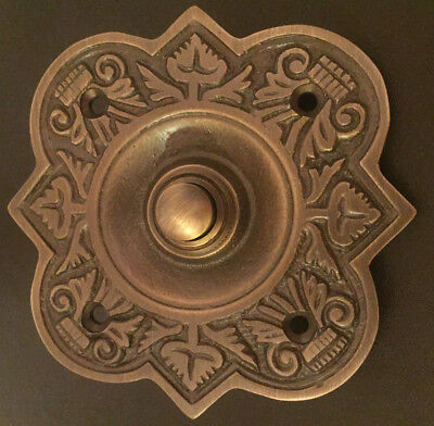 Antique Brass Large Solid Brass Fancy Bell Push