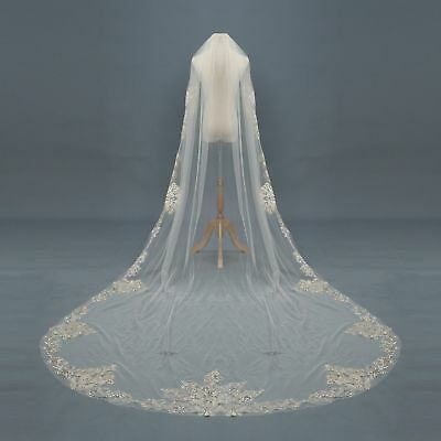 Wedding Veils Cathedral 1T Comb Bridal Veil Accessories Champagne Ivory White