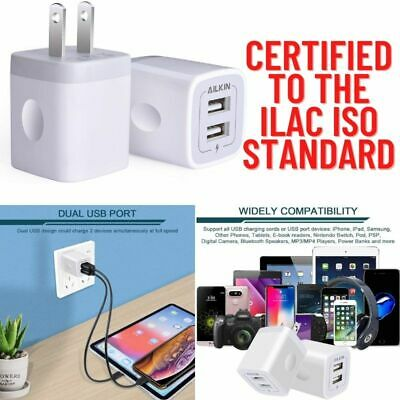 2-Pack Dual Port USB Wall Charger US Adapter Plug 5V/2.1Amp Quick Fast Charging