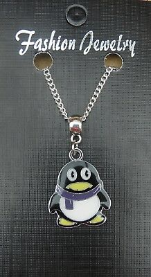 *CUTE 3D PENGUIN* Ditsy Charm Necklace SP chain GIFT POUCH Polar Bird Animal NEW