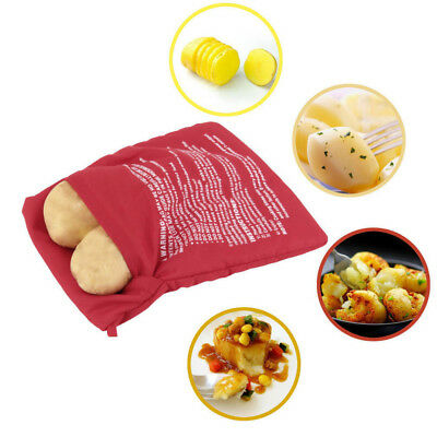 Red Washable Potato Bag  Microwave Potatoes Baking Cooking Bag 4 Minutes Easy