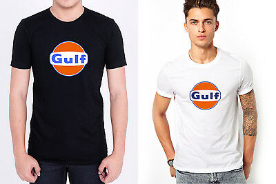 GULF OIL LUBRICANTS LOGO men black white t-shirt 100% cotton short sleeve
