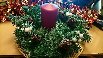 "Christmas Table Centrepiece, decoration 10"" Wreath Garland & Candle New"