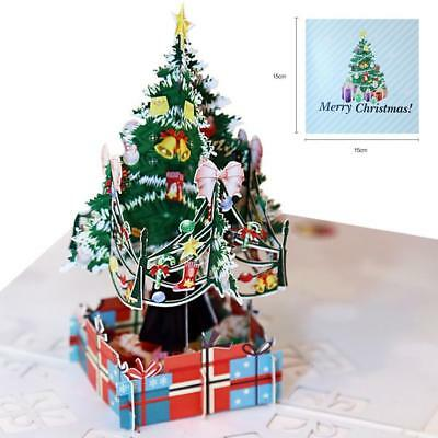 3D Up Xmas Christmas Tree Greeting Baby Gift Holiday Happy Handmade Cards
