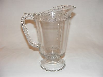 VINTAGE ANTIQUE VICTORIAN  EARLY AMERICAN PRESSED GLASS PITCHER JUG Eapg C 1880