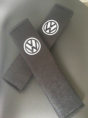 Embroidered Vw Universal  Seat Belt Shoulder Pads Pair Choose Colour