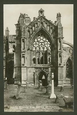 South Window & Crown of Thorns, Melrose Abbey - Valentine's Real Photo Postcard