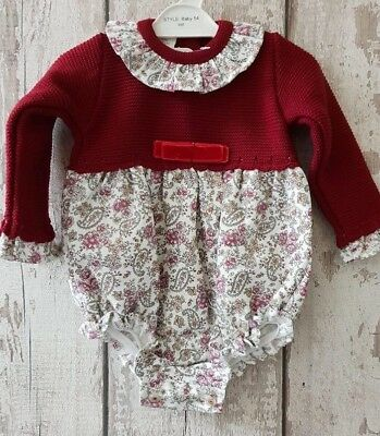 Spanish Style Baby Girl Half Knitted Romper / Outfit