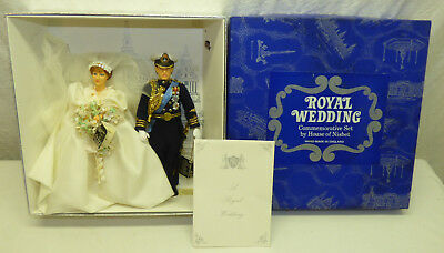 Vtg 1981 Peggy Nisbet Royal Wedding Doll Set w Box Diana P1005 Charles P1004 LE