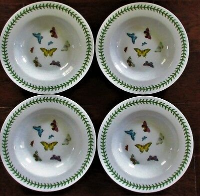 """LOT 4 Portmeirion Rimmed BOTANIC BUTTERFLY Soup/Cereal Bowls 8.5""""  Discontinued"""