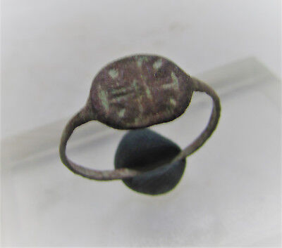 Byzantine Era Copper Alloy Crusaders Ring With Cross Motif
